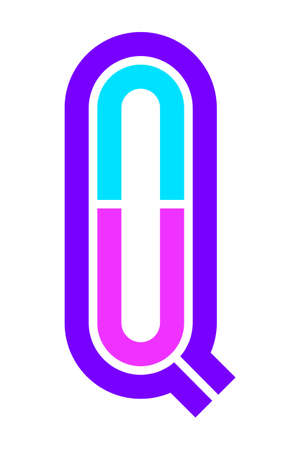 Trendy Font. New Alphabet, colorful letter Q