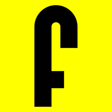 Dark modern font. Trendy alphabet, black vector letter F on a yellow background, vector illustration 10eps Ilustração