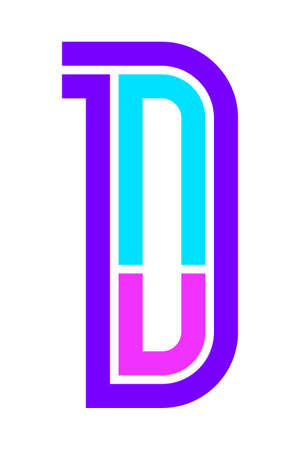 Trendy Font. New Alphabet, colorful letter D