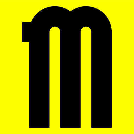 Dark modern font. Trendy alphabet, black vector letter M on a yellow background, vector illustration 10eps