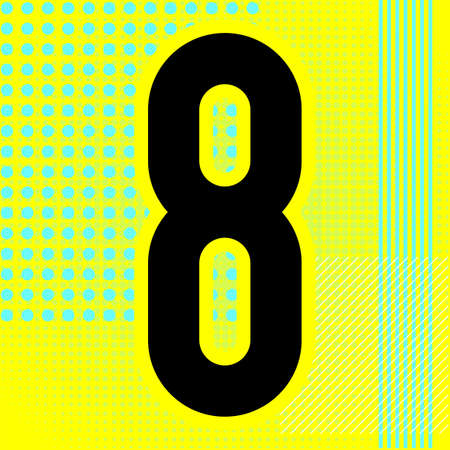 Modern font. Trendy alphabet, black vector number eight on a bright background. Ilustração