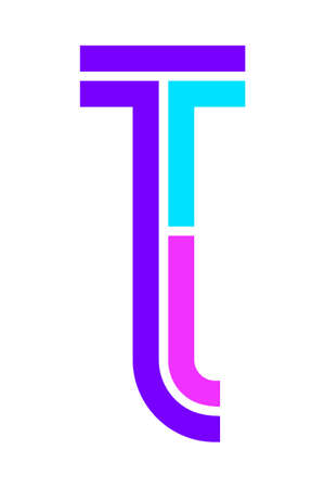 Trendy Font. New Alphabet, colorful letter T