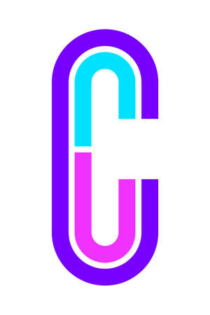 Trendy Font. New Alphabet, colorful letter C