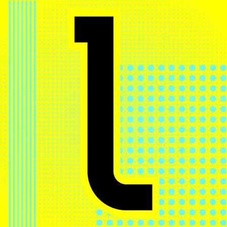 Modern font. Trendy alphabet, black vector letter L on a bright background. Ilustração
