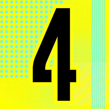 Modern font. Trendy alphabet, black vector number four on a bright background. Ilustração