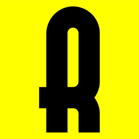 Dark modern font. Trendy alphabet, black vector letter R on a yellow background, vector illustration 10eps
