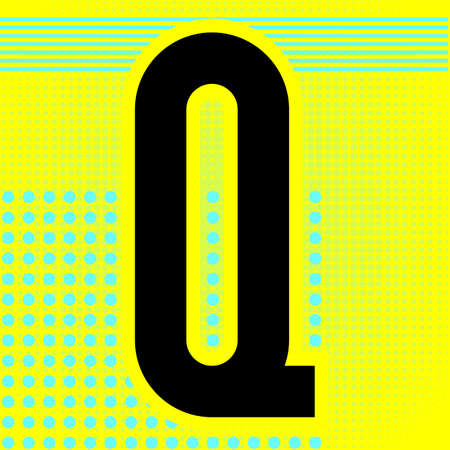 Modern font. Trendy alphabet, black vector letter Q, on a bright background. Ilustração