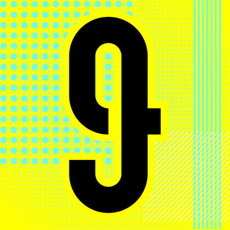 Modern font. Trendy alphabet, black vector number nine on a bright background.
