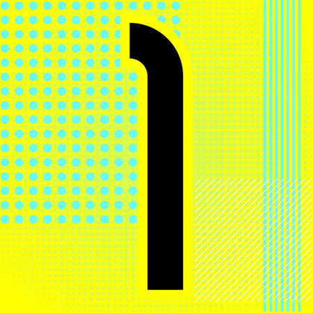 Modern font. Trendy alphabet, black vector number one on a bright background. Ilustração