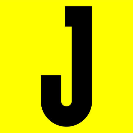 Dark modern font. Trendy alphabet, black vector letter J on a yellow background, vector illustration 10eps Ilustração