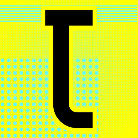 Modern font. Trendy alphabet, black vector letter T on a bright background. Ilustração