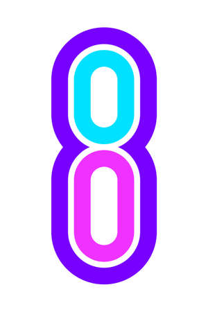 Trendy Font. New Alphabet, colorful number eight Ilustração