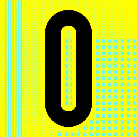 Modern font. Trendy alphabet, black vector number zero on a bright background. Ilustração