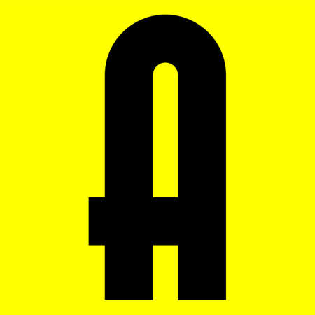 Dark modern font. Trendy alphabet, black vector letter A on a yellow background, vector illustration 10eps Ilustração