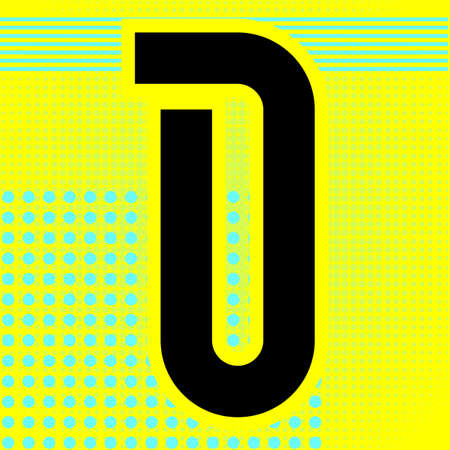 Modern font. Trendy alphabet, black vector letter D on a bright background.