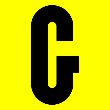 Dark modern font. Trendy alphabet, black vector letter G on a yellow background, vector illustration 10eps