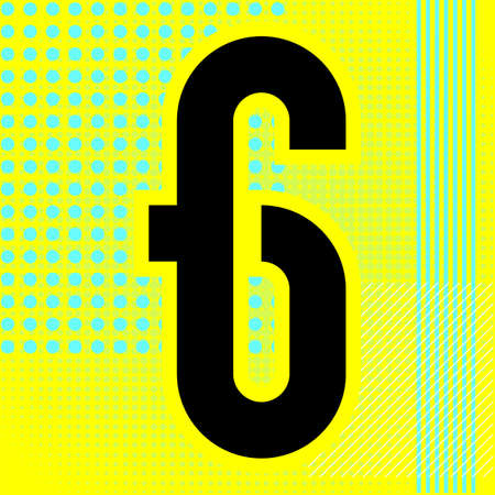 Modern font. Trendy alphabet, black vector number six on a bright background.