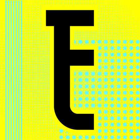 Modern font. Trendy alphabet, black vector letter E on a bright background. Ilustração