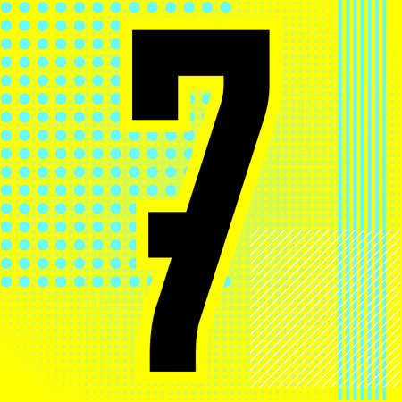 Modern font. Trendy alphabet, black vector number seven on a bright background.