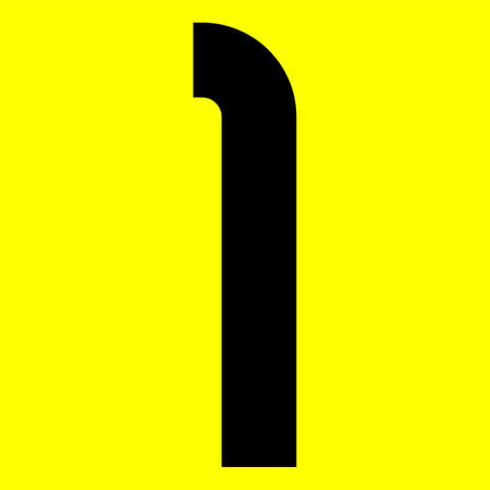 Dark modern font. Trendy alphabet, black vector number 1 on a yellow background, vector illustration 10eps