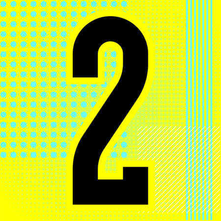 Modern font. Trendy alphabet, black vector number two on a bright background. Ilustração