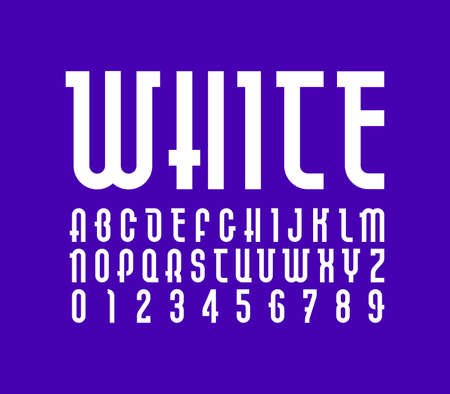 White Font, Trendy alphabet, vector letters and numbers.