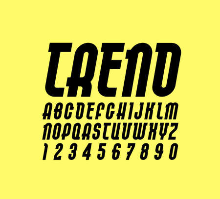 New font. Trendy alphabet, black vector letters on a yellow background. Illustration