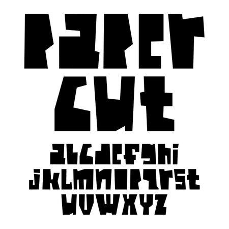 Black paper cut alphabet vector illustration
