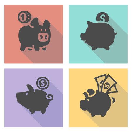 Black piggy bank set illustration Illustration
