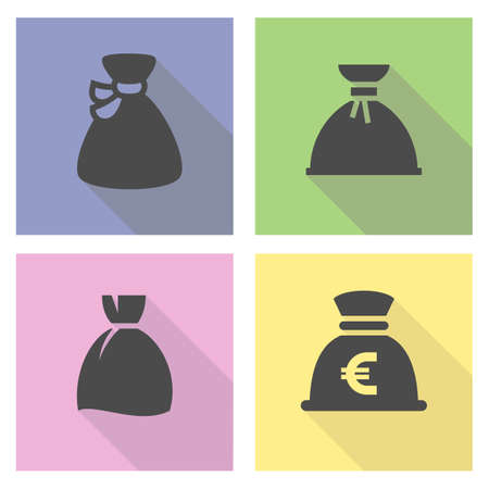 Black money bag set on a colored square.