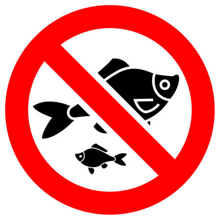 No fishing forbidden sign, modern round sticker