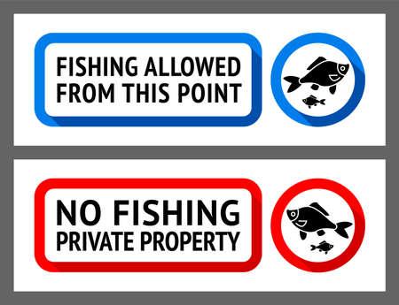 Sticker set No fishing or Fishing allowed Vektoros illusztráció