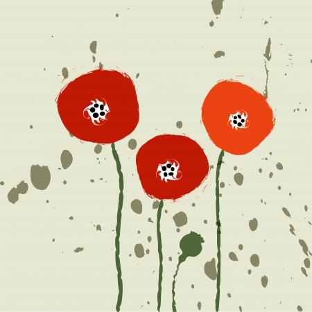 gestural: abstract poppies  Illustration