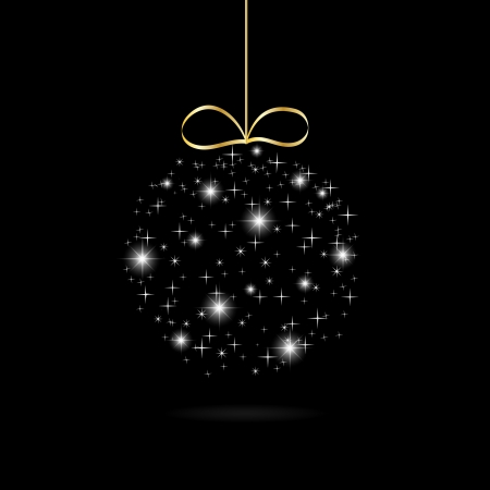abstract Christmas ball with stars on a black and gold background vector