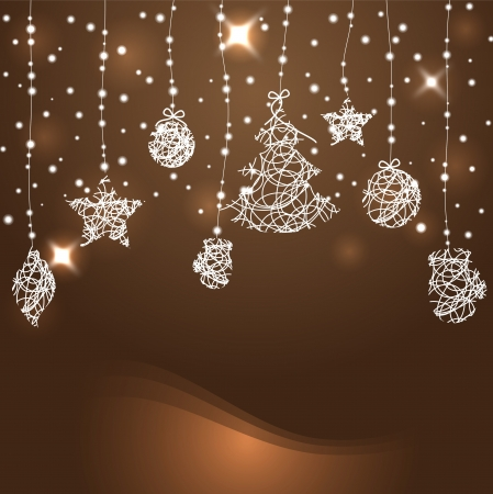 christmas stars: Abstract Christmas background with stars, Christmas trees and balls vector