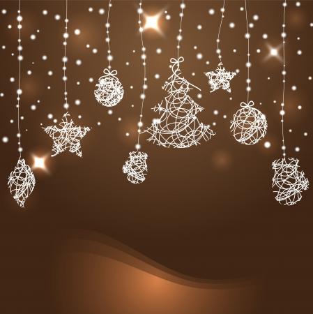 estrellas de navidad: Resumen de Navidad de fondo con estrellas, árboles de navidad y bolas de vectores