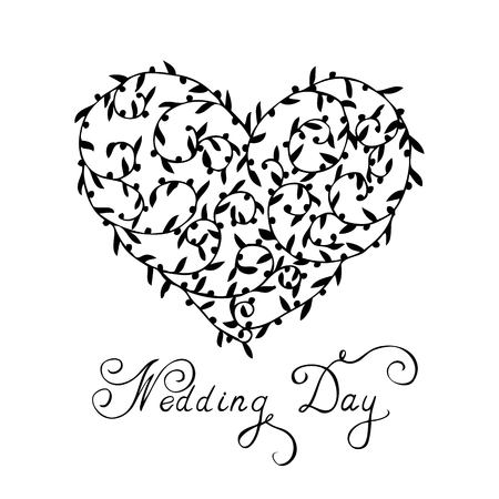 branches with leaves: Wedding card heart from branches and leaves a vector