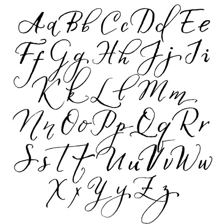 Vector alphabet in the style of lettering and calligraphy. Hand drawing pen. Ilustração