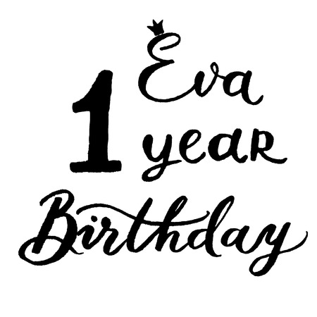 eva: Postcard on the anniversary of a child in the style of lettering vector.