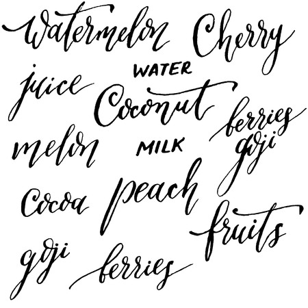 coconut water: Names of fruits and berries. Hand lettering and calligraphy vector.  Melon, cherries, watermelon, coconut milk, coconut water, goji berry juice, cocoa, peach, fruit, berries.