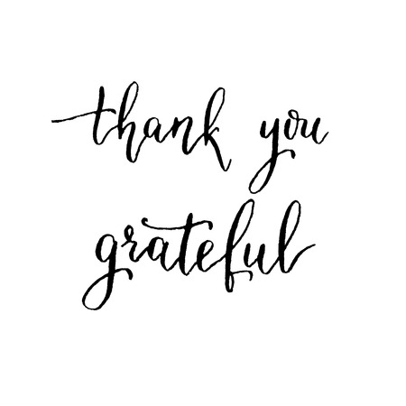 calligraphy pen: Thank you, grateful, hand lettering vector. Modern calligraphy pen and ink. Illustration