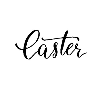 calligraphy pen: Easter, hand lettering vector. Modern calligraphy pen and ink.