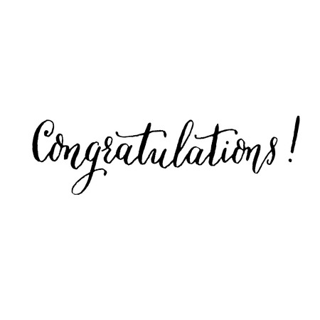 Congratulations, hand lettering vector. Modern calligraphy pen and ink.