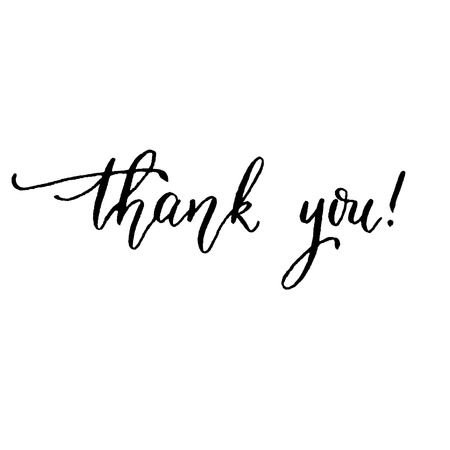 calligraphy pen: Thank you, hand lettering vector. Modern calligraphy pen and ink.