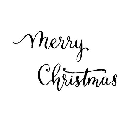 calligraphy pen: Merry Christmas, hand lettering vector. Modern calligraphy pen and ink.