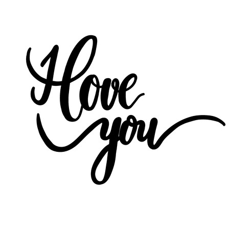 calligraphy pen: I love you, hand lettering vector. Modern calligraphy pen and ink.