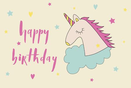 Happy birthday brush lettering card with cartoon cute unicorn ic Illustration