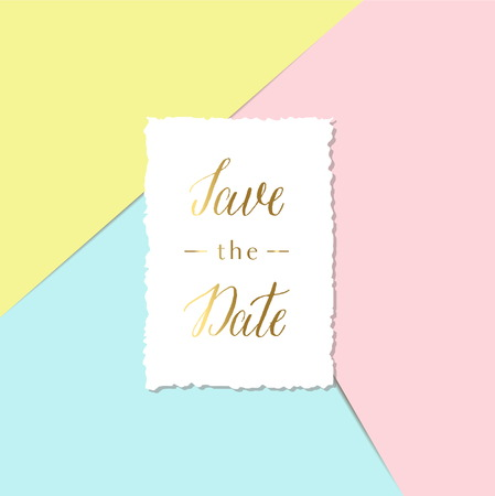 Save the date - card with a torn edge  on a pink, blue and yello Illustration