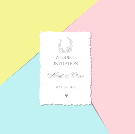 Wedding invitation with monogram - card with a torn edge  on a p Illustration