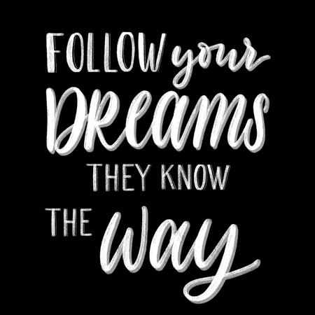 Follow your dreams they know the way - hand lettering vector.